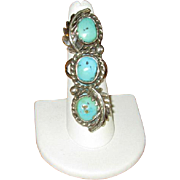 SALE Navaho Silver & Three-Stone Turquoise Ring