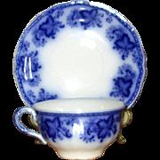 "English Flow Blue Johnson Bros. ""Princeton"" Cup & Saucer"