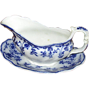 "English Flow Blue Meakin ""Colonial"" Sauce Boat & Liner"