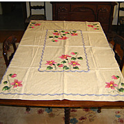 SALE Natural Linen Tablecloth with Colorful Hand Embroidery