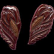 SALE Pair of Fancy Carved Brown Bakelite Dress Clips