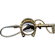 Gold-Filled Riding Crop Pin with Horse Head