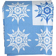 SOLD Hand-Appliqued Blue and White Snowflake Quilt