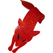 Red Plastic Fox Pin from Lea Stein