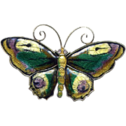 SALE Norway D-A Sterling Multi-Colored Enamel Butterfly Pin