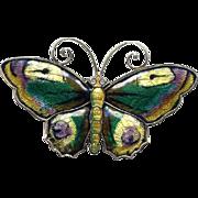 SALE Norway D-A Sterling Multi-Colored Enamel Butterfly Pin