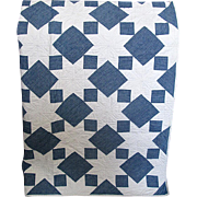 SOLD Vintage Hand-Made Blue & White Star Quilt