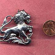 SALE Cini Sterling Leo the Lion Zodiac Pin or Pendant