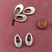 SALE Denmark Sterling and White Enamel Pin and Earring Set