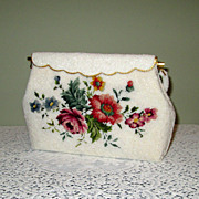 SOLD White Beaded Handbag with Petit Point Roses
