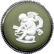 SOLD Round Green Wedgwood Sterling Cameo Pin