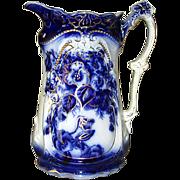 Ironstone Pottery Fancy Flow Blue Pitcher