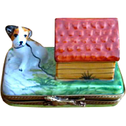 Hand-Painted Limoges Ceramic Box with Dog
