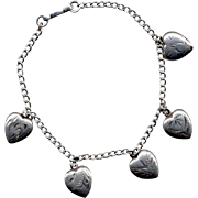 SALE Sterling Silver Charm Bracelet with Five Puffed Hearts