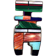 Native American Sterling Channel Inlay Pin/Pendant