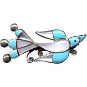 Native American Zuni Sterling Inlaid Bird Pin/Pendant