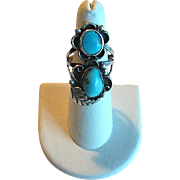 Native American Sterling & Two-Stone Turquoise Ring