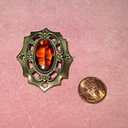 SALE Edwardian Brass Pin with Faux Topaz