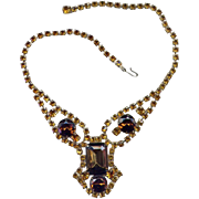 Brass Costume Necklace with Faux Topaz Crystals