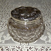 SALE Crystal Powder Jar with Fancy Sterling Silver Top