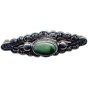 Vintage Navaho Sterling & Green Turquoise Pin