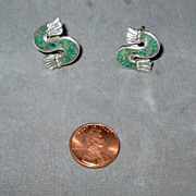 SALE Mexican Sterling Inlaid Stone Screw Back Earrings