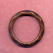 SALE Carved Brown and Black Bakelite Bangle Bracelet
