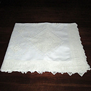 SALE White Madeira Linen Tablecloth with Filet Lace Inserts