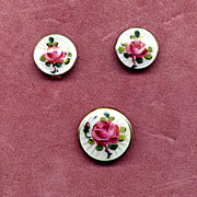 SALE Norway Sterling Enamel Rose Pin & Earring Set