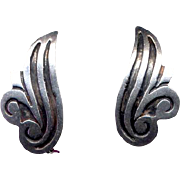 Vintage Mexican Sterling Clip Earrings