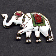 SALE Siam Silver and Multicolored Enamel Elephant Pin