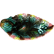 Multi-Colored Majolica Pottery Leaf Dish
