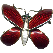 Norway Sterling Red & White Enamel Butterfly Pin