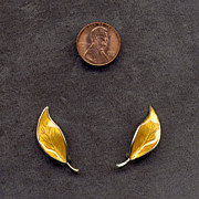SALE D-A David Andersen Yellow Enamel Leaf Earrings