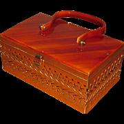 Vintage Fancy Brass & Celluloid Box Purse