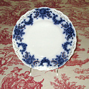 "SALE English Flow Blue Pottery 9"" Nelson Plate"