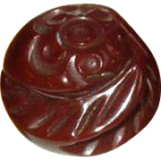 Brown Bakelite Ring with Carved Flower and Leaves
