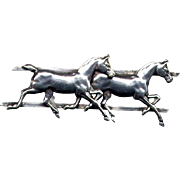 Silver Brooch with Two Race Horses