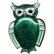 Norway D-A Sterling & Green Enamel Owl Pin