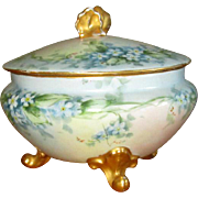 SALE Hand-Painted Porcelain Powder Box with Forget-Me-Nots