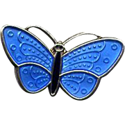Tiny Norway Sterling Blue Enamel Butterfly Pin