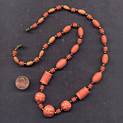Costume Faux-Coral Carved Celluloid Bead Necklace