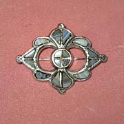 SALE Scottish Silver Pebble Pin with Bluish-Gray Agates