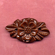 SALE Large Carved Brown Bakelite Pin with Flower