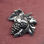 SALE Sterling Silver Grapes Pin