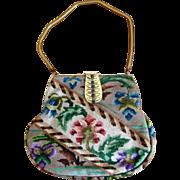 SALE Needlepoint Purse with Fancy Jeweled Clasp