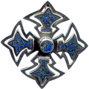 SALE PENDING Mexican Silver Maltese Cross Pendant with Stone Inlay