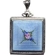 SALE Sterling Silver Compact with Pink and Blue Enamel