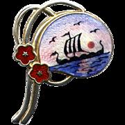 SALE Norway Sterling and Enamel Viking Ship Pin
