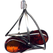 Sterling Silver Modernist Pendant with Cabochon Amber